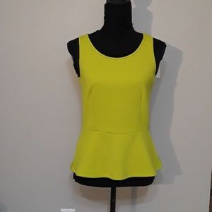 Chartreuse Peplum Top by Ann Taylor- Small